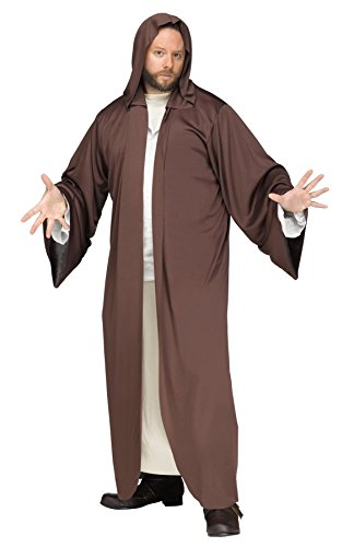 Fun World Men's Brown Hooded Robe, STD. Up