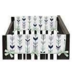 Sweet-Jojo-Designs-2-Piece-Grey-Navy-and-Mint-Woodland-Arrow-Teething-Protector-Cover-Wrap-Baby-Crib-Side-Rail-Guards