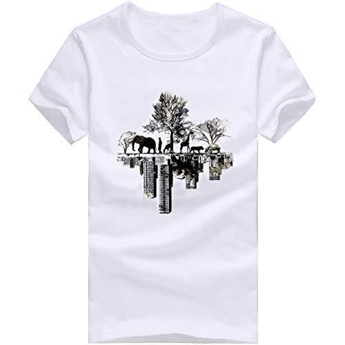 Hot!Ninasill Men Large Size Personality Printing Couple Models Fashion Loose Short Sleeve Tops Leisure t-Shirt Tank Tops White by Ninasill Man Tops (Image #1)