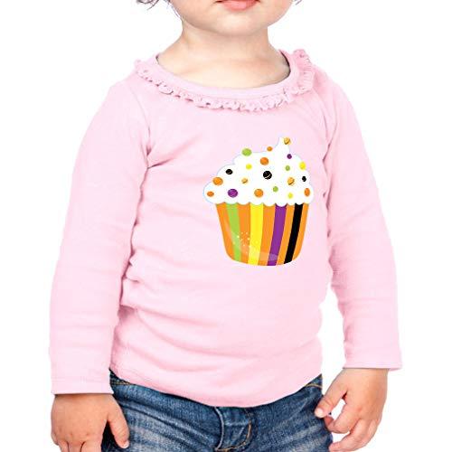 Halloween Cupcake Cotton Taped Neck Girl Toddler Long Sleeve Ruffle Shirt Top Sunflower - Soft Pink, 24 Months -