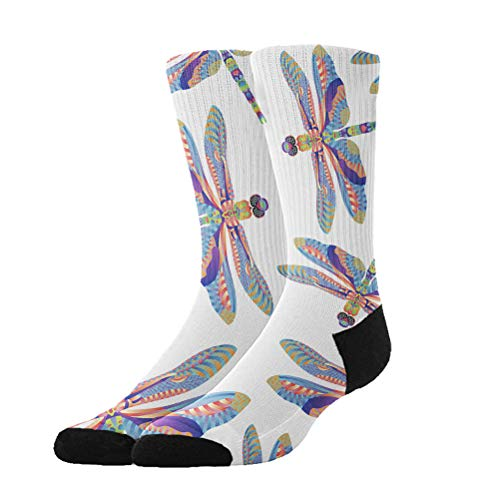 Jinkela Unisex Colorful Dragonfly Graphic Novelty Stockings Funny Crazy 3D Print Casual Long Crew Tube Socks