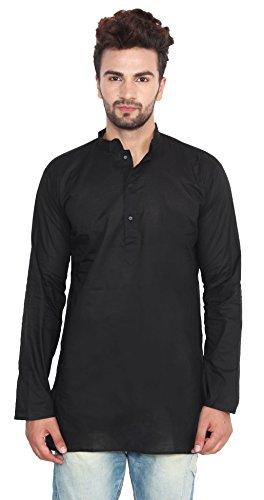 Cotton Dress Mens Short Kurta Shirt India Fashion Clothes (Black, M) by Maple Clothing