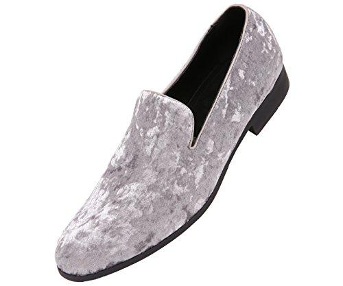 Amali Mens Crushed Velvet Smoking Slipper Nightclub Loafer, Slip On Formal Dress Shoe by Amali