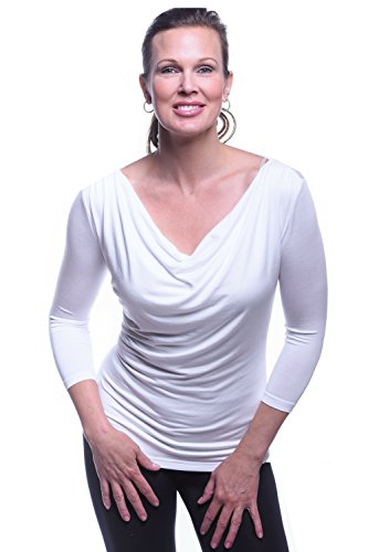 Body Bark Women's Droop Neck 3/4 Sleeve X-Small White by Body Bark