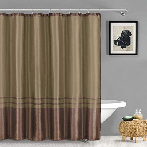 - Duck River Textile Sabrina Faux Silk Stripe Mildew Resistant Shower Curtain Liner Waterproof | Water Repellent & Antibacterial - Assorted Colors, 71 X 71, Brown