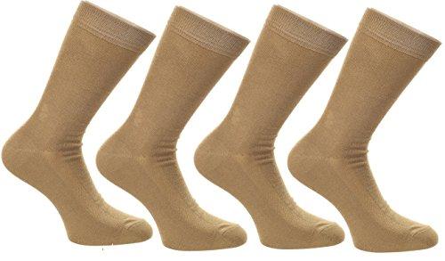 FootPrints Organic Cotton and Bamboo Men's Formal Socks Pack of 4- Khakhi
