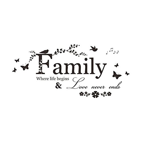 TraveT Family Where Life Begins and Love Never Ends Family Wall Decal Love Saying Home Decor