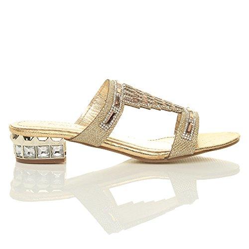 gemma tacco strass sera basso Donna taglia infradito sandali Oro ciabatte matrimonio 6qgwTxt