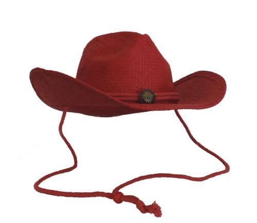 Red Toyo Western Cowboy Hat with Chin Cord and Concho -