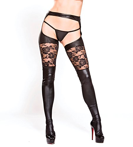 Allure Lingerie Lace Garter Thights One Size Black by Allure Lingerie
