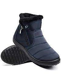 Ymombest Women Lightweight Snow Boots Winter Anti-Slip Ankle Booties Waterproof Slip On Side Zipper Warm Fur Lined Shoes