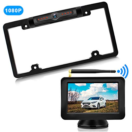 URVOLAX-Wireless Backup Camera License Plate-Monitor Kit 5 inch 1080P HD Universal Reverse-Rear View Camera IP69K Waterproof 170°Wide View Angle,Digital Stable Signal,Easy Installation Fit All Cars (Kit Camera Wireless)