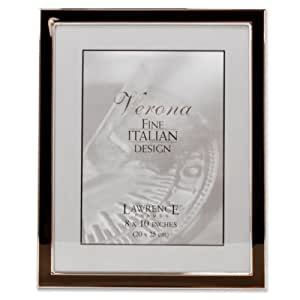 Lawrence Frames Silver Plated 8 by 10 Metal with Brown Enamel Picture Frame