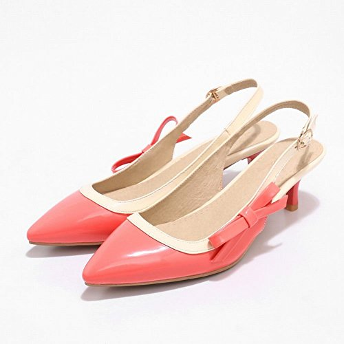 Carolbar Women's Chic Fashion Mid Heel Bow Slingback Buckle Court Shoes Pink I9yLe9