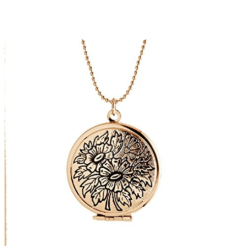 Childrens Round Lockets - Antique Flower Round Shaped Pendant Locket Necklaces Lockets for Women that Hold Pictures Jewelry (Rose Gold Tone)