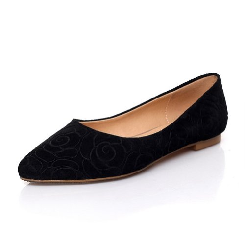 WeiPoot Po2015ted Womens Closed Po2015ted WeiPoot Toe Frosted Sheepsk2015 Micro Fiber Solid Flats, Black, 4.5 B(M) US B00K8JN2KI Shoes 15efbf
