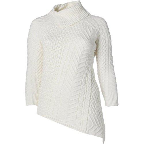 [Vince Camuto Women's Plus-Size Long Sleeve Asymmetrical Hem Turtle Neck Mix Cable Sweater, Antique/White, 2X] (Sweaters Sale Cable Turtleneck Sweater)