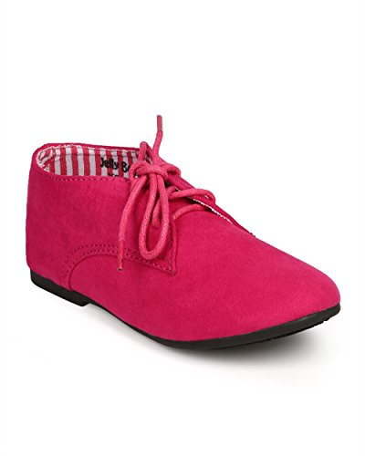 Suede Round Toe Lace Up Classic Ankle Oxford Flat (Toddler/Little Girl/Big Girl) DG66 - Fuchsia (Size: Little Kid 11)