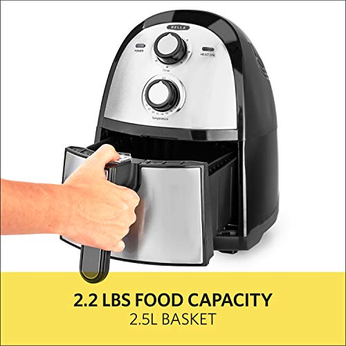 BELLA (14752) 2.6 Quart Electric Hot Air Fryer with Removable Dishwasher Safe Basket, Stainless Steel by BELLA (Image #1)