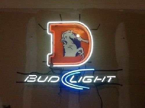 "Desung Brand New 20""x16"" Denver Sports Teams Bronco Bud-Light Neon Sign (Various sizes) Beer Bar Pub Man Cave Business Glass Neon Lamp Light DB124"