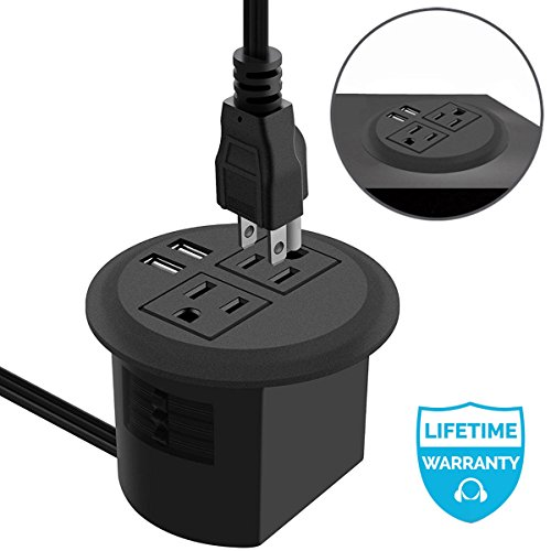 Power Grommet, Desktop Power Outlet 2 US Plugs & 2 USB Ports for Computer, Desk/Table, Kitchen, Office,Home,Hotel and More -