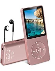 [Lastest UI] AGPtEK 70 Hours Music Playback MP3 Lossless Sound Entry Hi-Fi 8GB Music Player (Supports up to 64GB, SD/TF Card is not Included in The Package), Rose-Gold