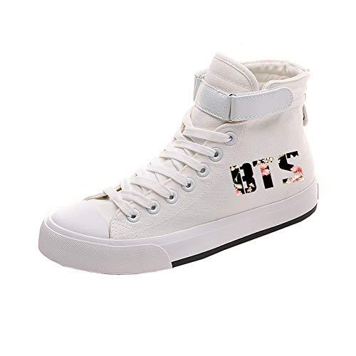 De Alta Ocasionales Spring Estudiantes Caballero Ayuda Canvas White12 Printed Bts Popular Zapatos 0wUUYf