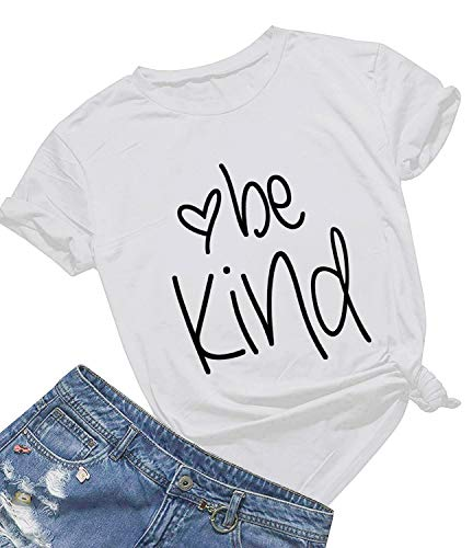 Be Kind T Shirts Women Cute Graphic Blessed Shirt Funny Inspirational Teacher Fall Tees Tops (S, White01) -