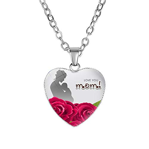 Ymibull Mother's Day Love Heart-Shaped Necklace Pendant Gifts for Mum Mother Daughter Love Heart Necklace Pendant (B)