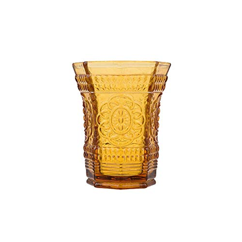 Colored glass European water cup heat-resistant creative cute couple cup juice cup household high temperature (amber)