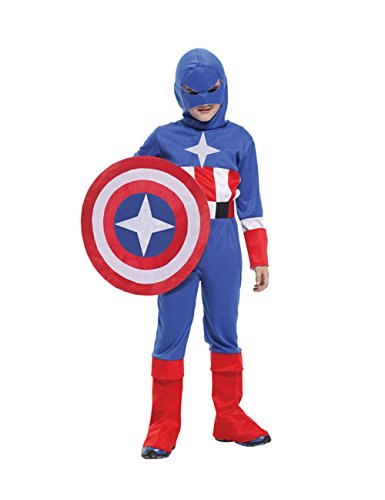 Captain America New Costume Avengers (Children Halloween Costume Captain America Cosplay Winter Soldier Movie Boys Suit Absolutely Perfect Red Child L)