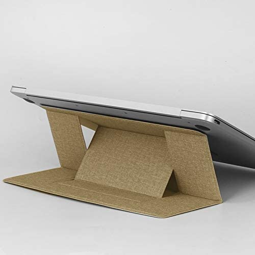 Build-in Magnetic Design Adjustable Automatic Adsorption Laptop PU Stand Color : Khaki