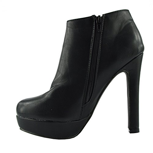 Kick Footwear Neue Damen Plateau High Heel Ankle zip Stiefel Partei-Schuhe Schwarz Matt