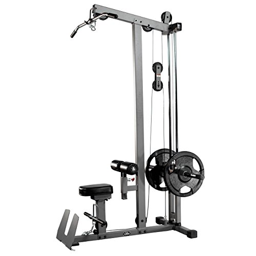 Combo Offer XMark Fitness Lat Pulldown and Low Row Cable Machine XM 7618 with Attachment Package of Single Grip Handles, Chinning Triangle, Tricep Rope, and Rotating Curl Bar XM 3711