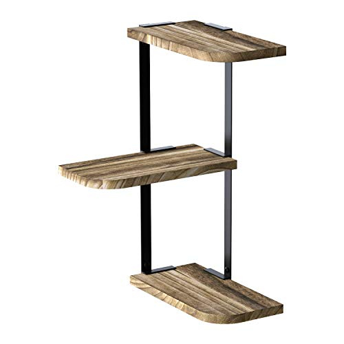 LoveKANKEI Corner Shelf Wall Mount of 3 Tier Rustic Wood Floating Shelves for Bedroom Living Room Bathroom Kitchen Office and More Carbonized Black