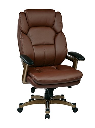 Office Star Bonded Leather Seat and Back Contour Executive Chair with Adjustable Arms and Cocoa Coated Accents, Wine
