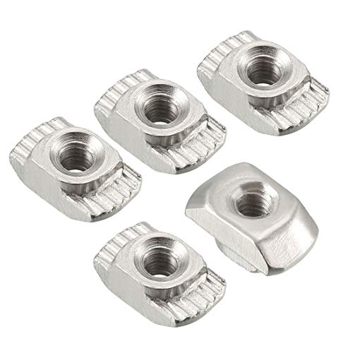 M5 Half Round Roll in T-nut for 4545 Series Aluminum Extrusion Profile T-Slot Slot Nuts Nickel Plated Carbon Steel Pack of 20