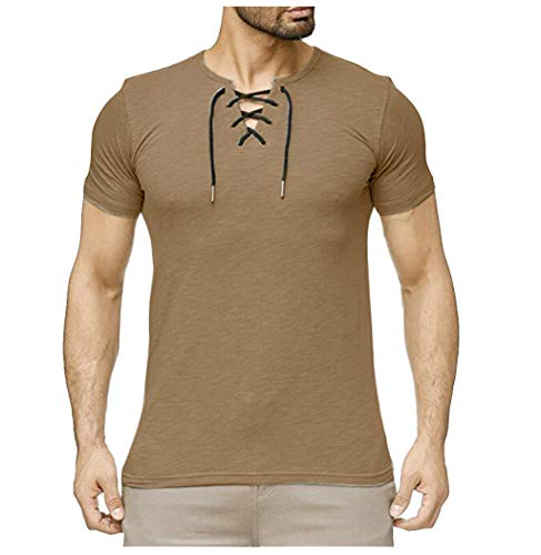 TOPUNDER Summer Mens Fashion Casual Comfort Solid Color Strap Short Sleeve T-Shirt Blouse -
