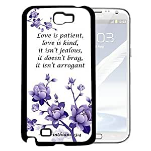 1 Corinthians 13:4 Bible Verse with Purple Flowers (Samsung Galaxy Note II 2 N7100) Hard Snap on Phone Case Cover