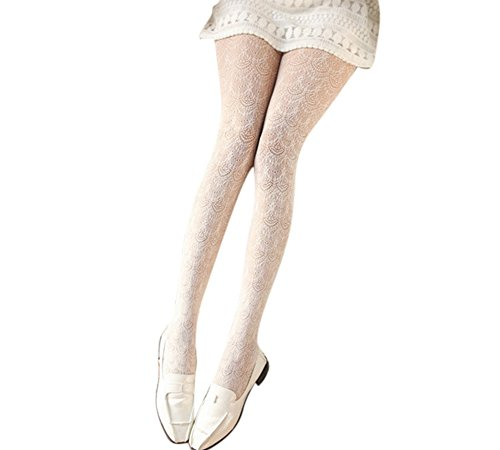 Ealafee Lady High Waist Hollow Out Tight Off White Pantyhose Stockings One Size