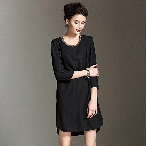 Color Código El Del Otoño Suelto ZHUDJ De black Vestido Vestido Contador De Recto HIYXz