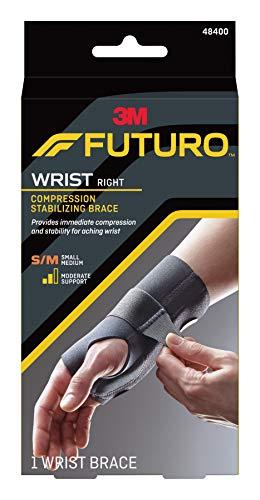 (Futuro Energizing Wrist Support, Moderate Stabilizing Support, Right Hand, Small/Medium, Black)