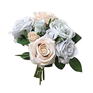 AKwell Artificial Fake Roses Flower Bridal Bouquet Wedding Party Home Decor 8 Pcs 91