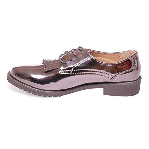 La Modeuse - Zapatos de cordones para mujer, plateado (plata), 41