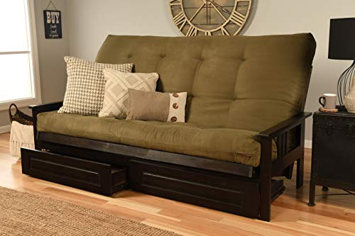Jerry Sales Queen or Full Size Montreal Espresso Futon Frame w/ 8 Inch Innerspring Mattress Sofa Bed Wood Futons (Olive Mattress, Frame, Drawers (Queen Size))