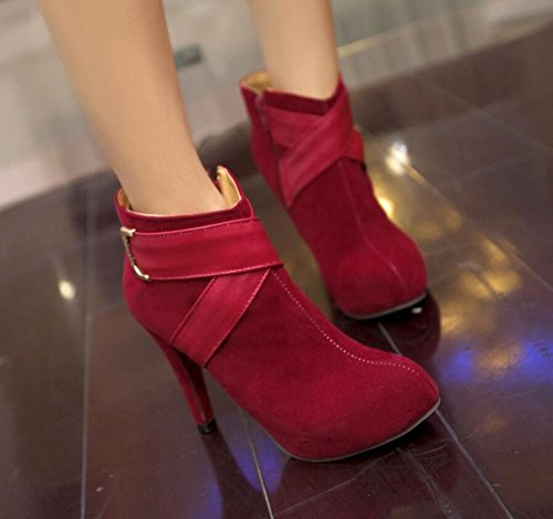 Ei&iLI Chaussures talons hauts cheville Bootie femme / a souligné Toe Boots Dress/Casual , red , 39