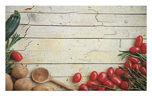 rmat, Cooking Vegetables Theme Recipe Chef Rustic Wood Planks Utensil Artwork Image, Decorative Polyester Floor Mat with Non-Skid Backing, 30 W X 18 L Inches, Brown Red Green ()