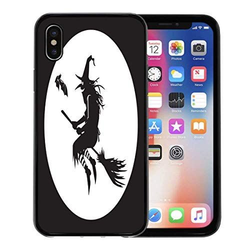 Semtomn Phone Case for Apple iPhone Xs case,Autumn Silhouette of Flying Witch in The Moon Bat Besom Black Broom for iPhone X Case,Rubber Border Protective Case,Black]()