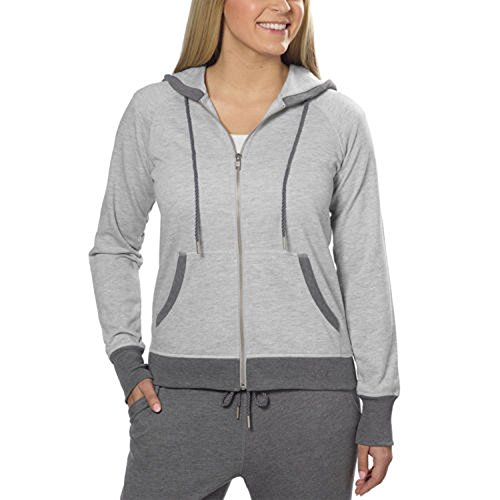 Champion® Ladies French Terry Full Zip Hoodie (X-Large, Gray Heather)