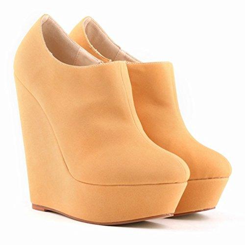 Low Scarpe Stivaletti Donna Wanyang Scarponcini Alta Zeppa Chiaro Stivali Moda Autunno Arancione Boots Da Inverno Rta855